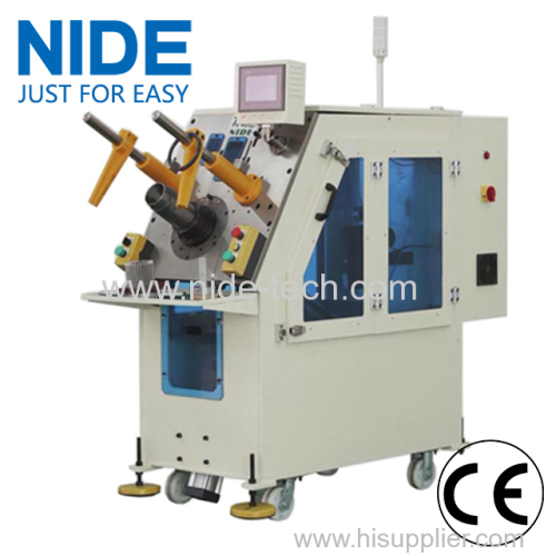 Single phase motor stator coil and wedge inserting machine