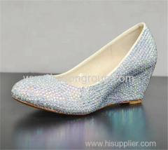 Rhinesone pointy toe wedge heel lady dress shoes