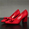 Suede bowtie chunky heel red wedding shoes