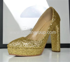 Chunky heel shiny glittering women dress shoes