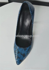 Dark blue snake texture women high heel dress shoes