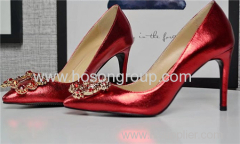 Fashion shiny leather and rhinestone lady high heel wedding shoes