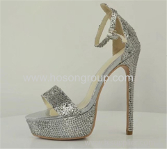 Open toe stiletto heel lady dress shoes wiith rhinestone