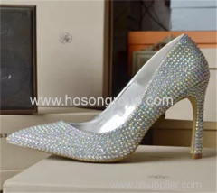 Rhinesone pointy toe women high heel wedding shoes