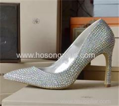 Rhinesone pointy toe women high heel wedding shoes