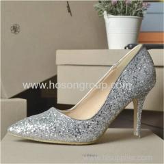 Shiny paillette lady high heel wedding dress shoes