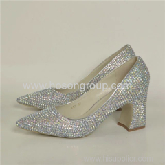 Pointy toe chunky heel lady dress shoes with rhinestone