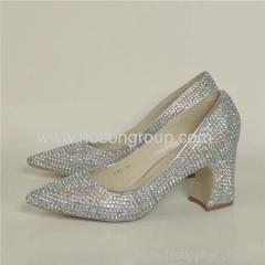 Pointy toe chunky heel lady dress shoes with rhinestone