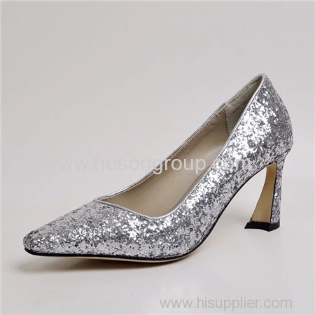 Special heel pointy toe paillette women high heel shoes