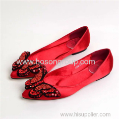 Beading butterfly lady flat wedding dress shoes