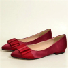 Red bowtie pointy toe flat women dress shoes