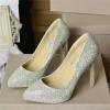Rhinestone pointy toe women high heel wedding dress shoes