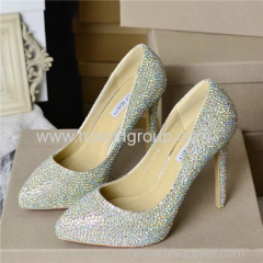 Rhinestone pointy toe lady high heel wedding dress shoes