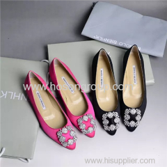 Fashion rhinestone decoration pointy toe lady flat shoes