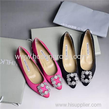 Fashion rhinestone decoration pointy toe lady flat shoes