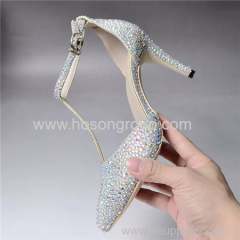 T strap pointy toe stiletto heel lady dress sandals with rhinestone