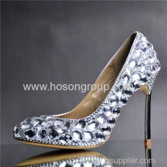 Shiny rhinestone lady stiletto heel dress wedding shoes
