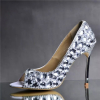 Fish mouth women high heel rhinestone dress shoes