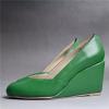 Pointy toe PU women wedge heel shoes