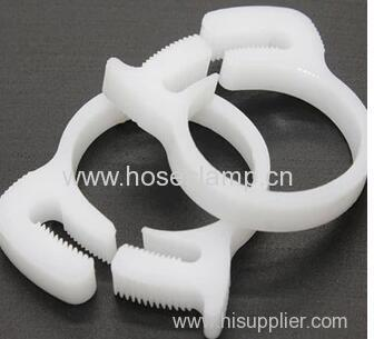 Plastic hose clamp for soft tube and connector