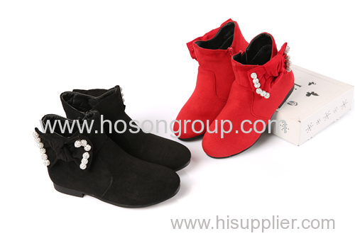 Warm suede girls fashion ankle boots with zipper