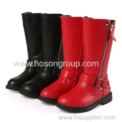 Girls round toe zipper knee boots