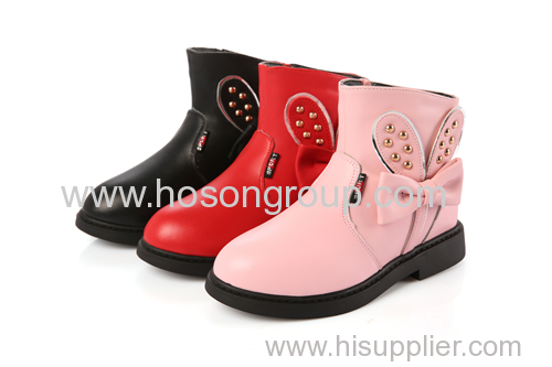 Children round toe ankle boots with bowtie