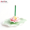 ODM & OEM Handmade Customized Ceramic Lotus Leaf Incense Holder for Hotel Furniture