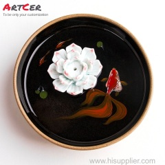 ODM & OEM Handmade 3D Customized Ceramic white Lotus Goldfish Stick Incense Burner Holder