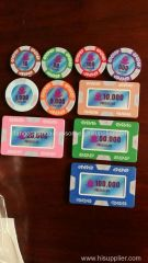 Clay Poker Chips Sticker Casino Chip with UV Mark Logo and Copper Sheet