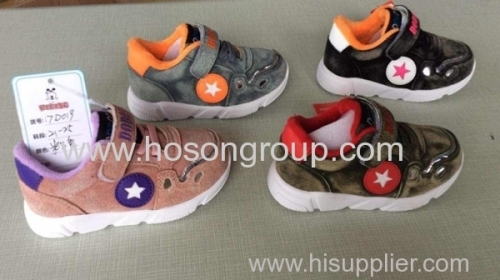 Suede velcro and lace children sports shoes