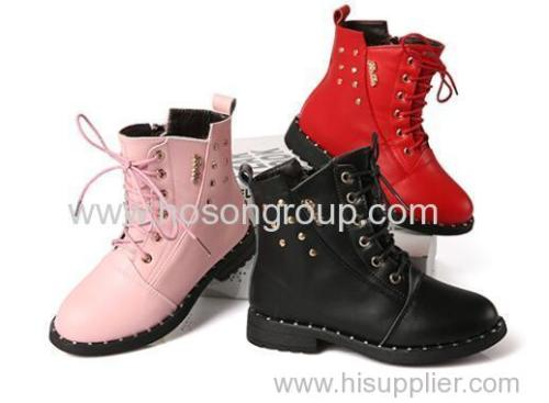 Girls round toe lace and zipper ankle boots