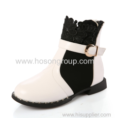 Children round toe zipper boots with buckle decoration