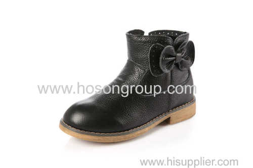 Children PU bowtie ankle boots