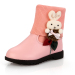 Rabbit decoration PU and knitting children ankle boots