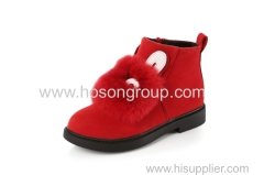 Zipper kids ankle boots with soft fur