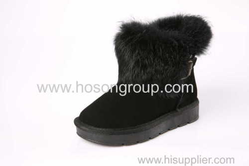 Soft fur and rivets kids ankle snow boots