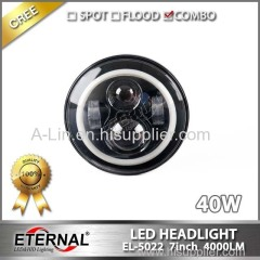 7in 40W round off road motorcycle automotive truck led headlight dual beam halo ring driving lamp with angel eyes