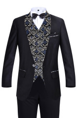 Men's Suits Slim Blue Pattern Fit Suits Business Suits