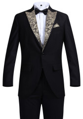 Men's Suits Golden Pattern Slim Fit Suits Business Suits