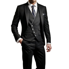 Men's Suits Unique Personality Oblique Button Three-Piece