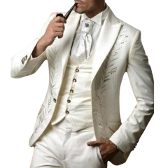 Men 's suits ivory slim fit embroidered men' s suits suit 3 pieces