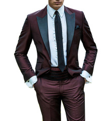 Burgundy men's suits 2 pieces fashion men's suit