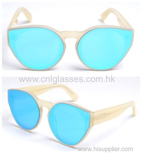 Fashion Polarized UV Mirrored Lens Oversize Acetate Sunglasses Frame