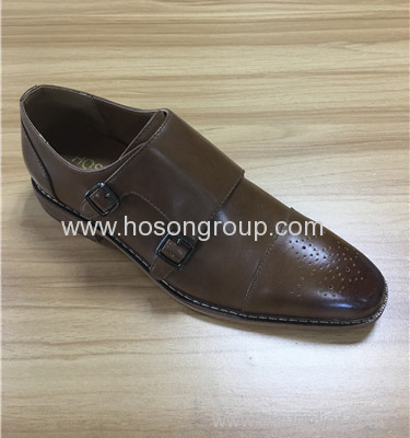 Plain toe men buckle business shoes