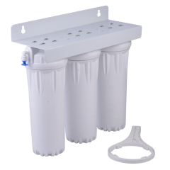 undersink water filter with 3 white housings