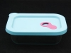 Square glass food container with silicone lid