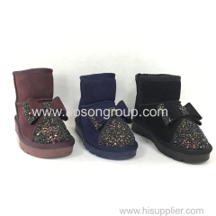 PU suede and paillette fashion children ankle boots