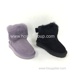 Children bowtie clip on ankle boots with fur