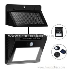Outdoor Solar Lights Separable Solar Panel Waterproof Motion Sensor Security Light 10 LEDS Powered Wall Light
